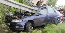 POWIAT LESKI: Wypadek w Baligrodzie. Kierowca nabił się na barierę (ZDJĘCIA)